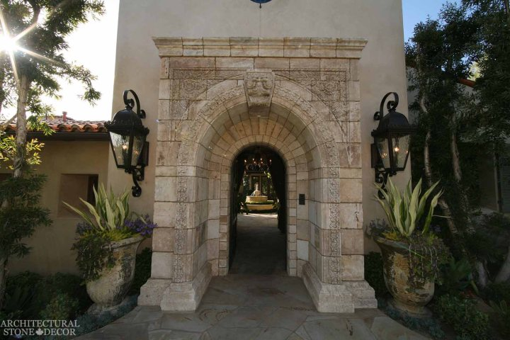 Game of Thrones Medieval Gothic hand carved reclaimed limestone entryway