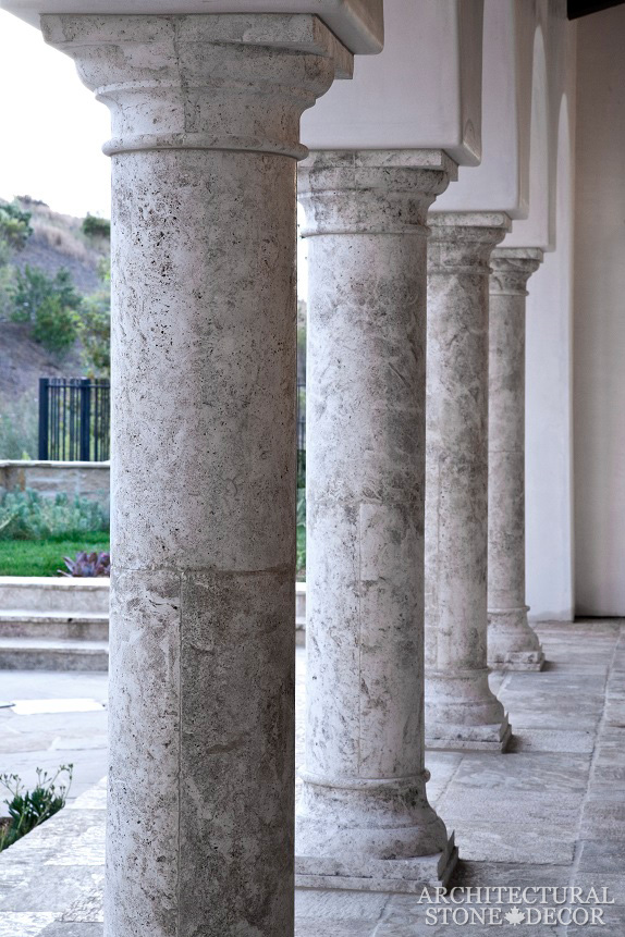 Game of thrones medieval reclaimed rustic limestone hand carved columns and ancient antique 'Barre Montpelier' French limestone flooring grey king's landing
