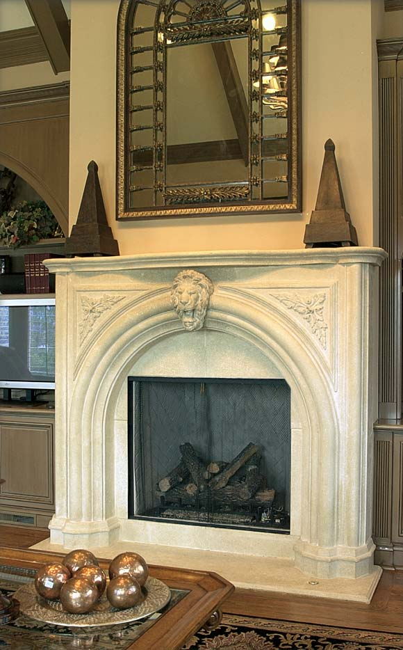 Rustic reclaimed hand carved limestone fireplace mantel lion motif Game of Thrones medieval theme