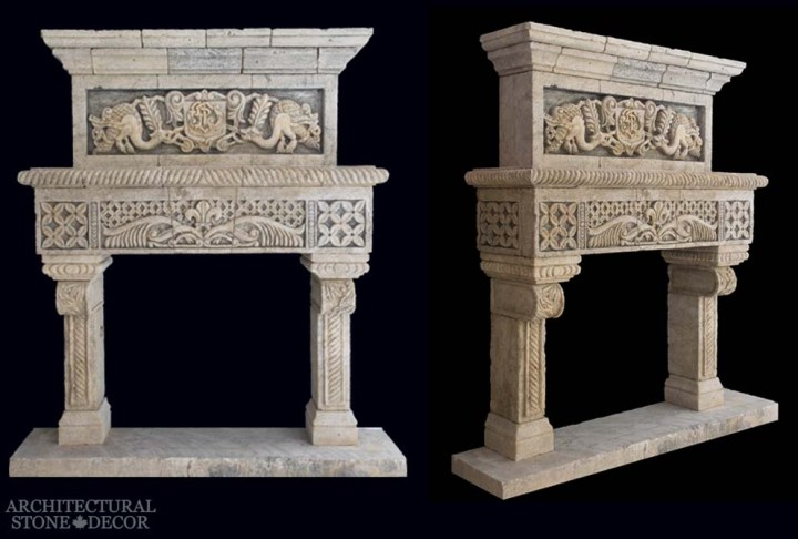 Rustic reclaimed hand carved limestone fireplace overhead mantel dragons motif Game of Thrones medieval and Gothic theme