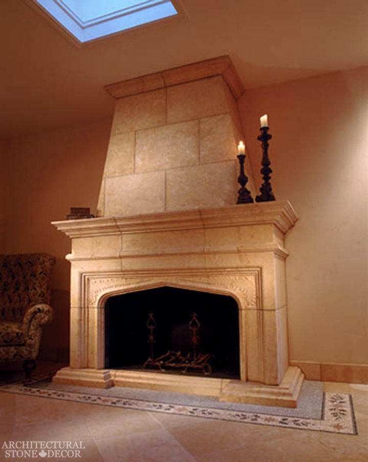 Medieval reclaimed hand carved limestone fireplace mantel Game of thrones Winterfell