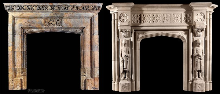 Rustic reclaimed hand carved limestone fireplace mantel stag motif Game of Thrones medieval and Gothic style and theme House of Baratheon knights crosses