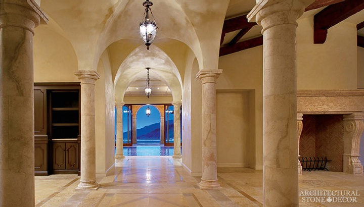 Game of thrones medieval reclaimed hand carved limestone columns and arches hallway