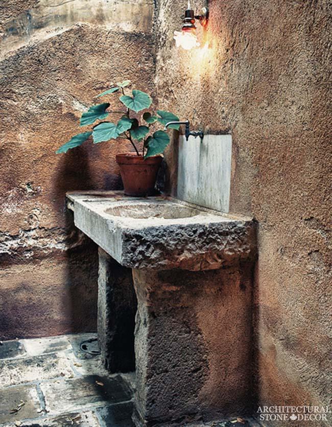 Game of Thrones Medieval Gothic hand carved ancient rutsic reclaimed sink powder room black basalt flooring