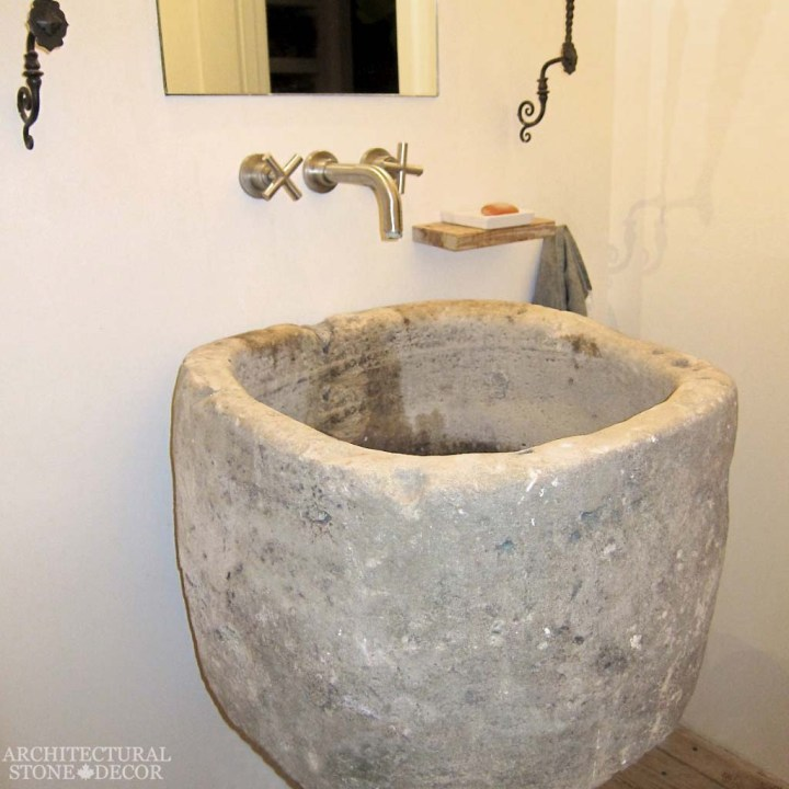 Game of Thrones Medieval Gothic hand carved ancient rutsic reclaimed trough sink powder room