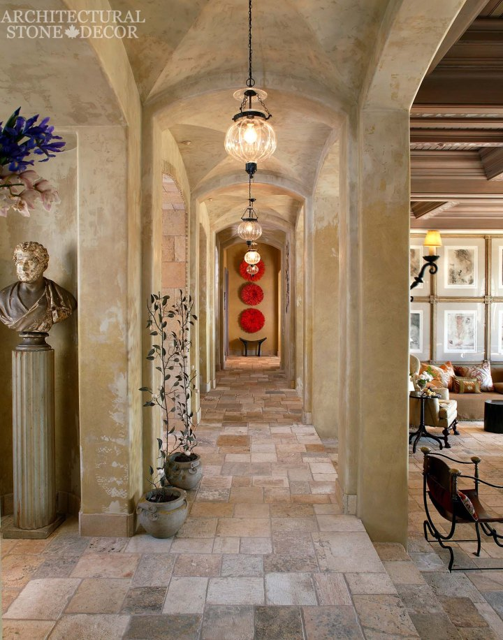 Game of Thrones Medieval Gothic reclaimed 'Dalle de Bourgogne' limestone flooring arches hallway
