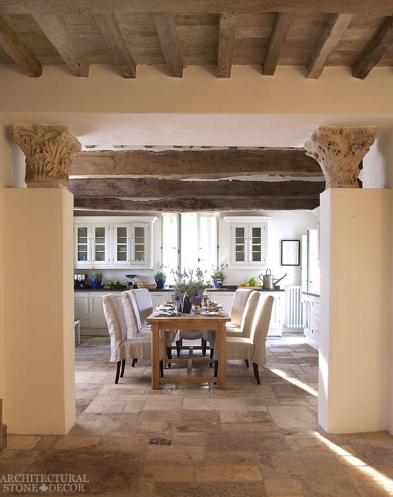 Game of thrones medieval reclaimed hand carved limestone columns exposed old wood beams rustic limestone 'Dalle de Bourgogne' flooring