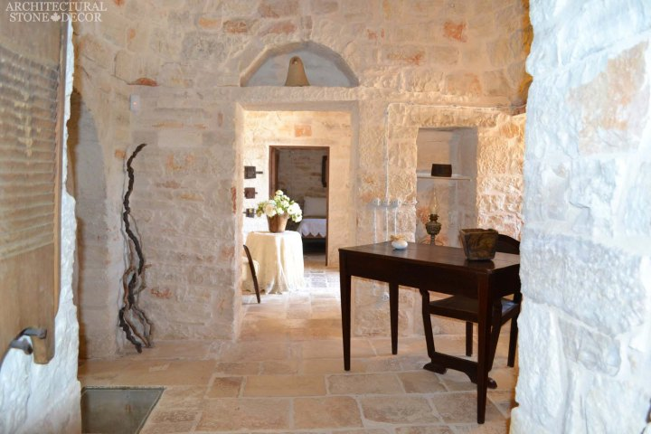 Game of Thrones medieval gothic style handcarved reclaimed limestone 'Dalle de Bourgogne' flooring and Mesozoic wall cladding entryways