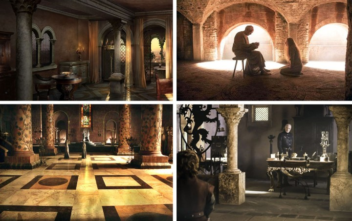Rustic Ancient reclaimed limestone columns arches game of thrones interior design and architecture in King's Landing