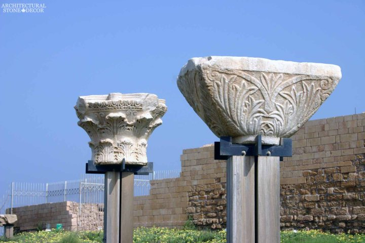 Game of thrones medieval reclaimed hand carved limestone column caps on modern base