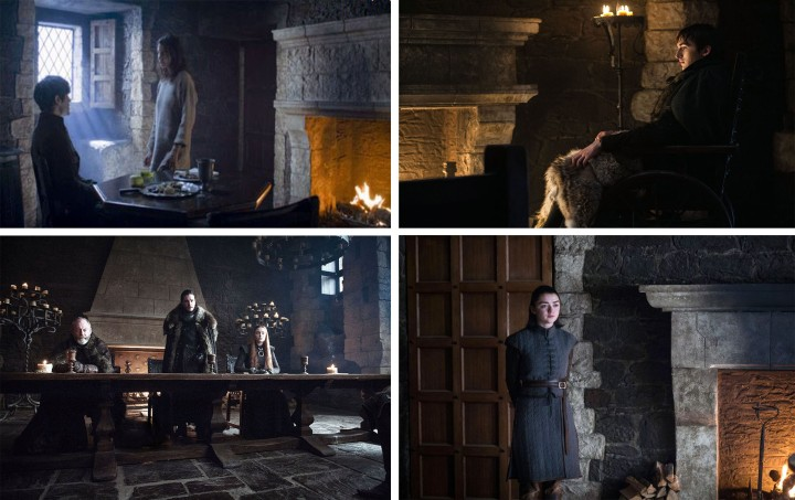 Game of Thrones Winterfell reclaimed limestone fireplace interior style