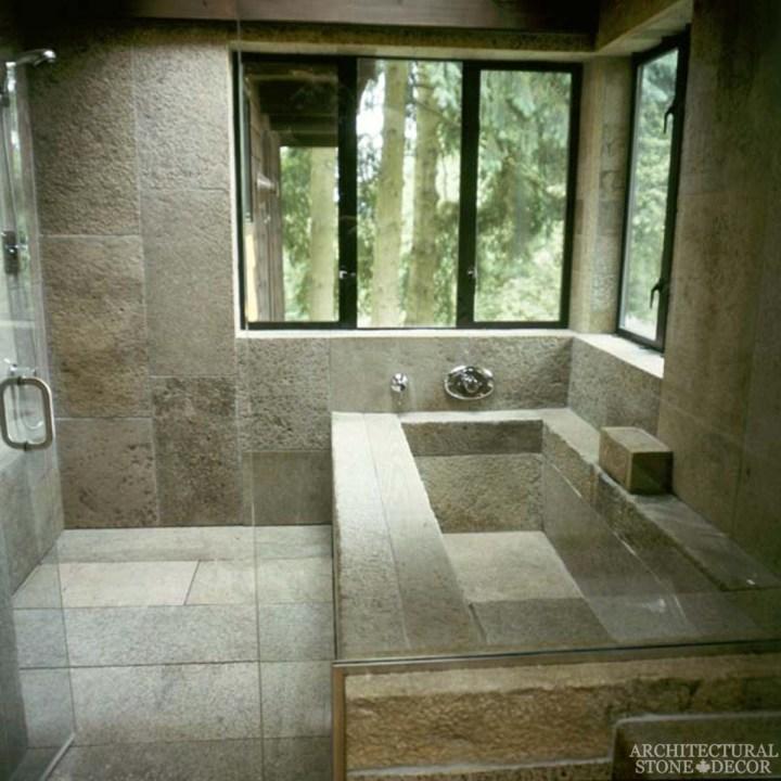rustic bathroom Barre Blonde reclaimed salvaged antique limestone flooring tiles running bondwall cladding bathroom Canada Toronto Vancouver British Columbia