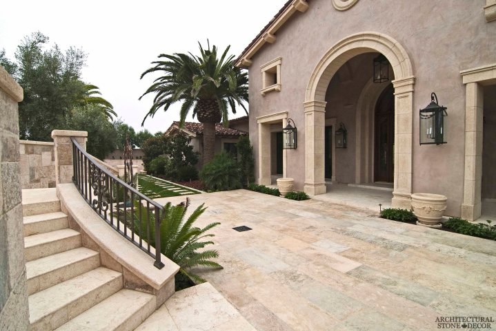 old world villa Barre Blonde reclaimed salvaged antique limestone flooring tiles running bond stair steps entryway planters window sills Canada Toronto Vancouver British Columbia