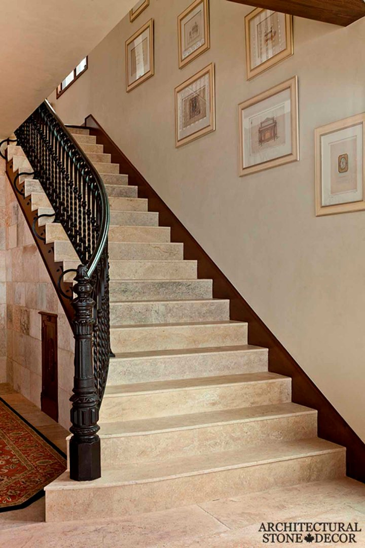 old world villa Barre Blonde reclaimed salvaged antique limestone flooring tiles stair steps Canada Toronto Vancouver British Columbia