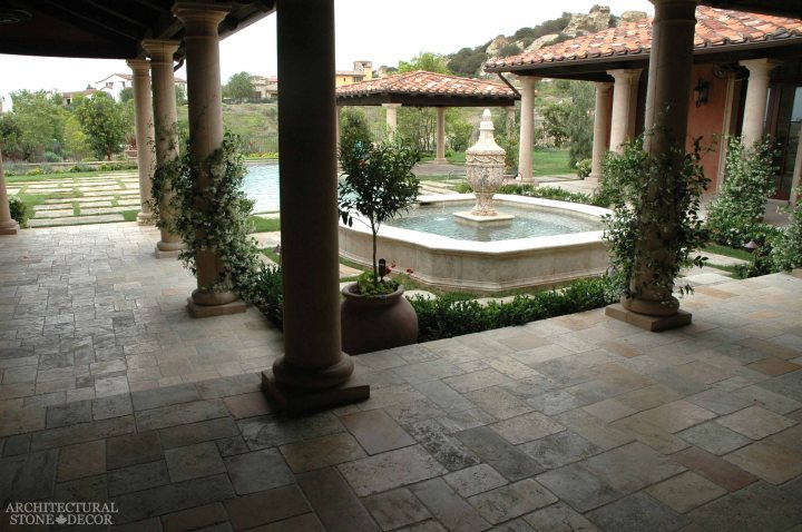 Tuscan roman backyard pergola columns stone hand carved pool fountain Barre Gray reclaimed salvaged antique limestone flooring stone pavers tiles Canada