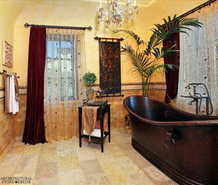 Italian Provincial style bathroom Barre Gray reclaimed salvaged antique limestone flooring stone pavers tiles Canada Toronto