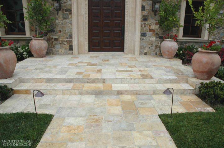 Tuscan style front porch Barre Gray reclaimed salvaged antique limestone flooring stone pavers tiles entryway Terracotta jars window sills Toronto Canada
