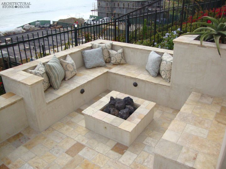 Mediterranean coastal style Backyard fire pit Barre Gray reclaimed salvaged antique limestone flooring stone pavers tiles canada toronto