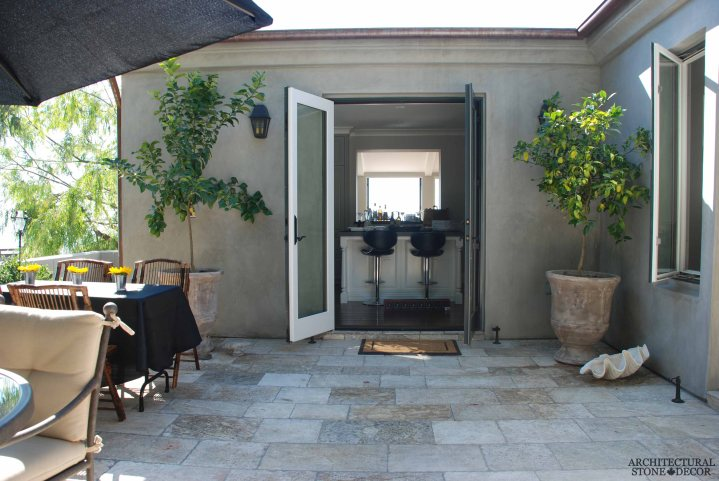 antique limestone planters running bond Barre Montpelier reclaimed salvaged antique limestone flooring stone pavers balcony terrace Canada Toronto BC
