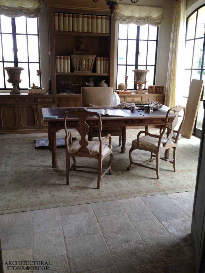 French Provincial style study room Barre Montpelier reclaimed salvaged antique limestone flooring stone pavers study room Canada