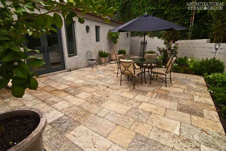 Italian Provincial backyard Barre Montpelier reclaimed salvaged antique limestone flooring stone pavers terrace backyard canada