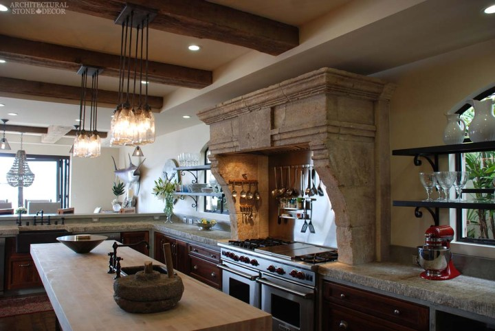Canada Alberta Toronto Neolithic style hand carved antique limestone kitchen hood butcher block counter tops