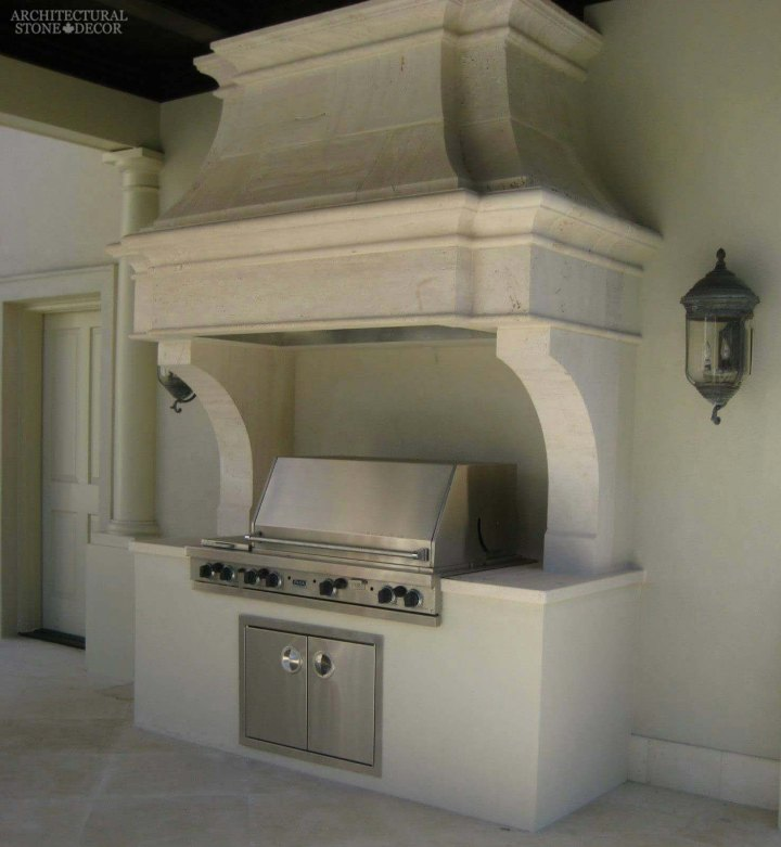 Canada British Columbia BC outdoor kitchen hood and BBQ setup from old stone