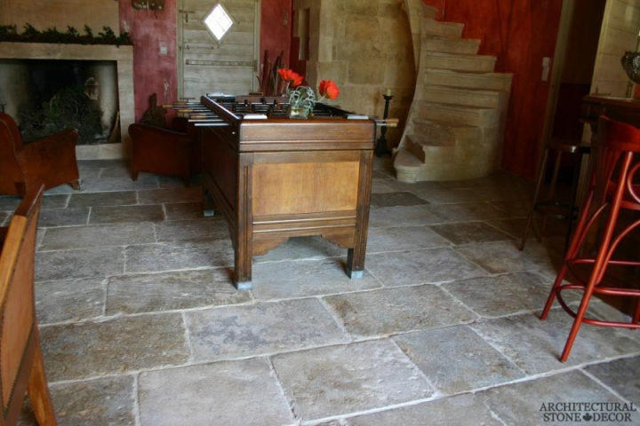 Dalle de Bourgogne reclaimed salvaged antique limestone flooring stone pavers game room canada