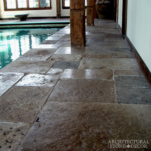 Dalle de Bourgogne reclaimed salvaged antique limestone flooring stone pavers pool house pool coping butcher blocks Toronto BC canada