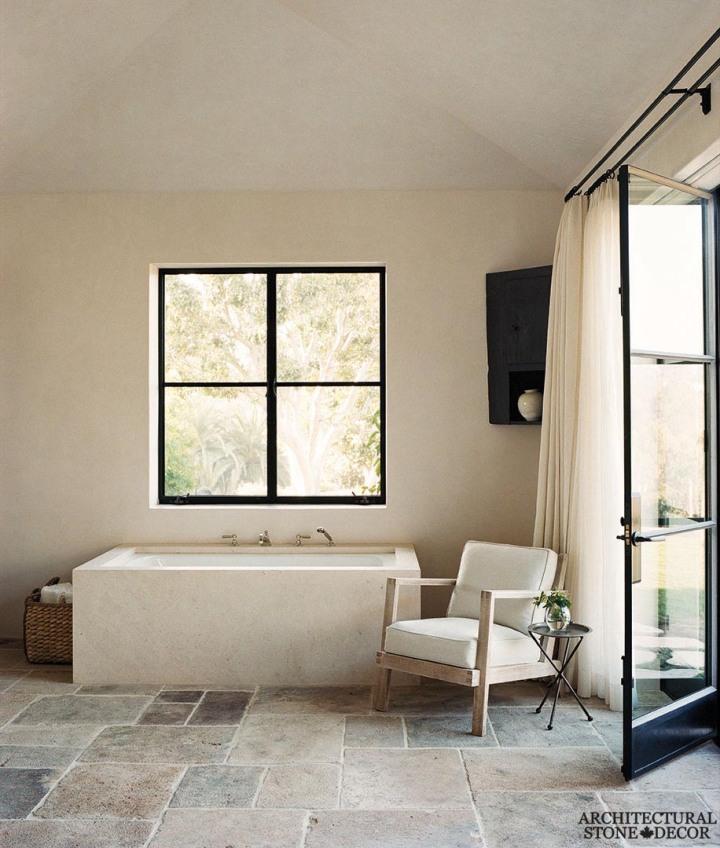 Minimalist style bathroom Dalle de Bourgogne reclaimed salvaged antique limestone flooring tiles random formation BC Vancouver canada