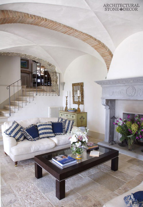 Greek Cycladic style living room Dalle de Bourgogne reclaimed salvaged antique limestone flooring tiles Canada BC Toronto