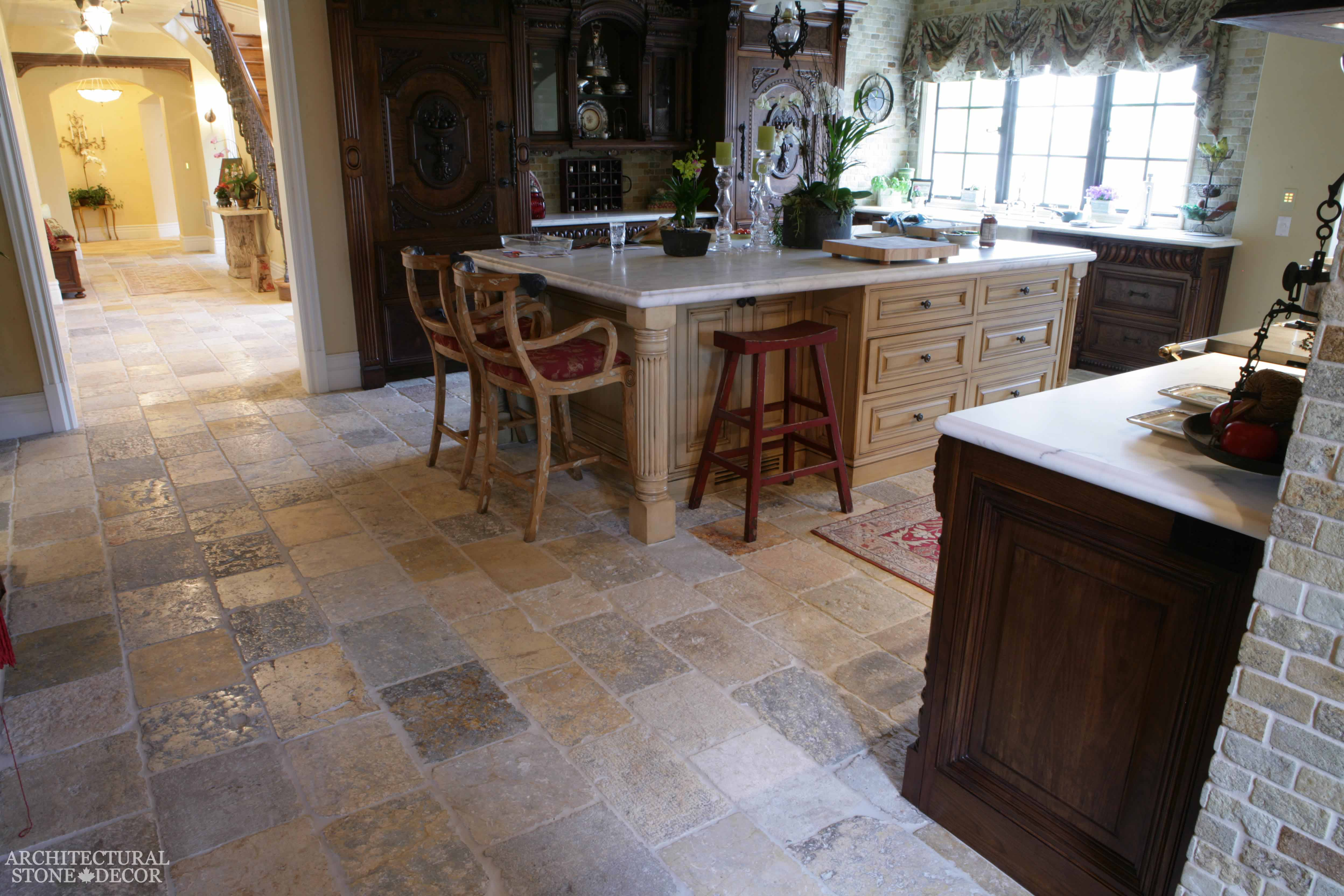 From ancient europe to your home the best in antique limestone english style open kitchen area dalle de bourgogne reclaimed salvaged antique limestone flooring tiles running bond dailygadgetfo Choice Image