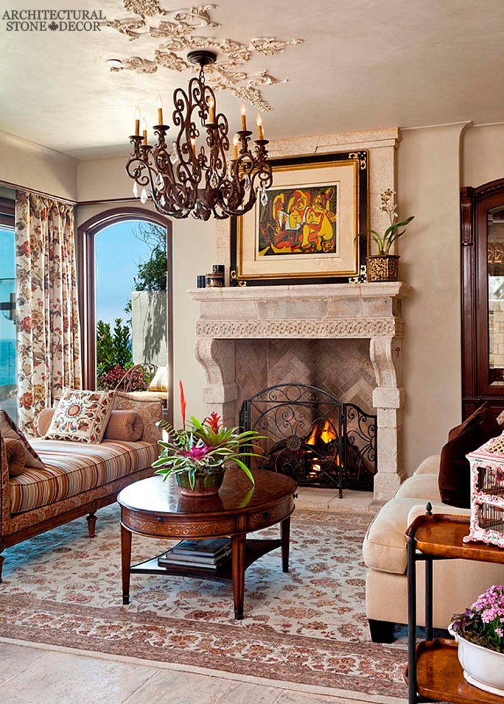 European style living room reclaimed antique salvaged hand carved limestone natural stone fireplace mantel floral curtains carpet ceiling design canada UK Australia