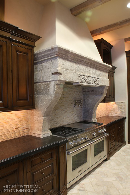 farmhouse style kitchen hood hand carved reclaimed limestone canada Toronto Vancouver