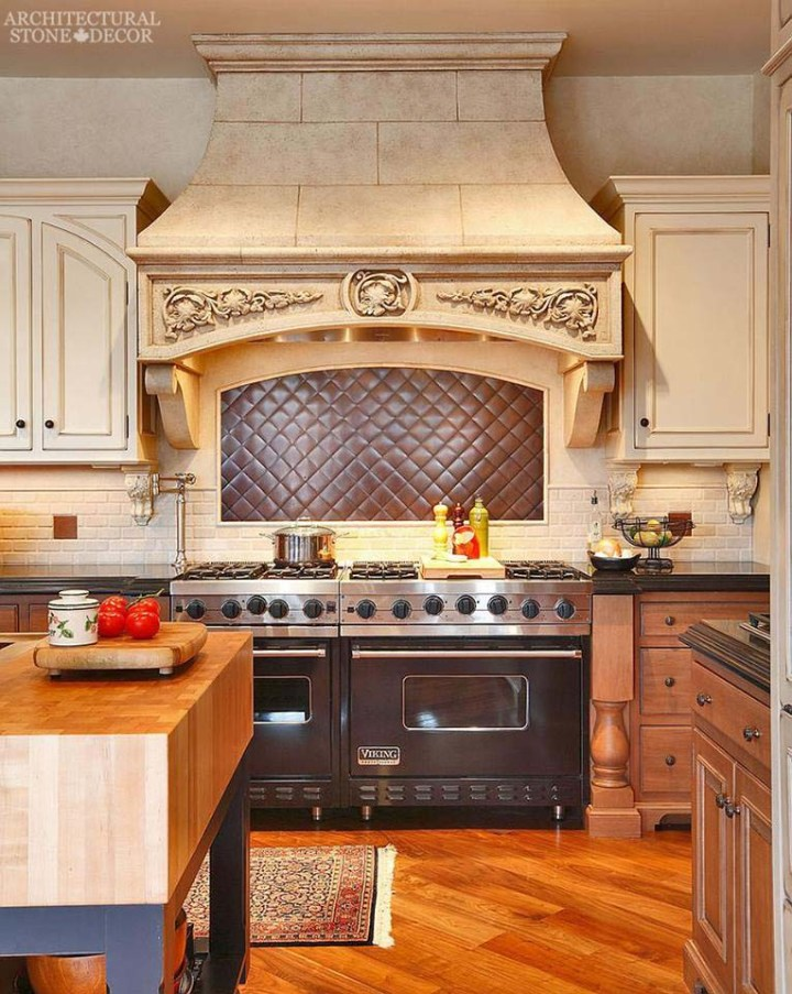 French country hand carved kitchen hood canada BC British Columbia Toronto