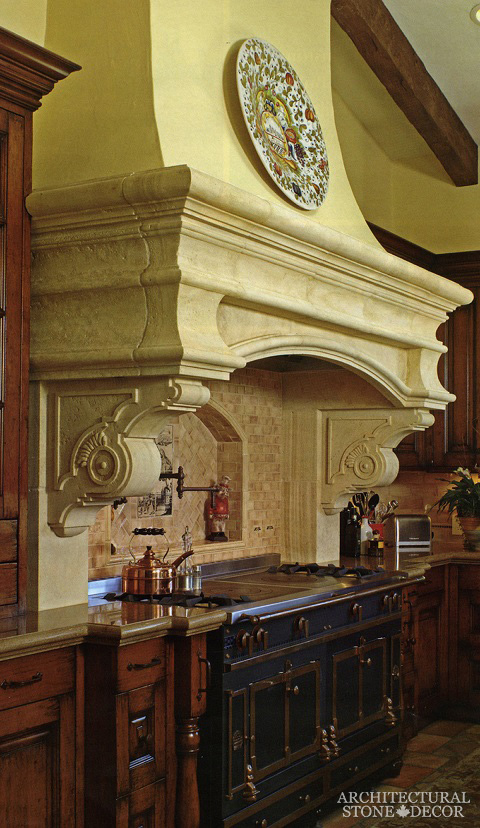 French country style reclaimed limestone kitchen hood Canada Vancouver Toronto BC Alberta Manitoba