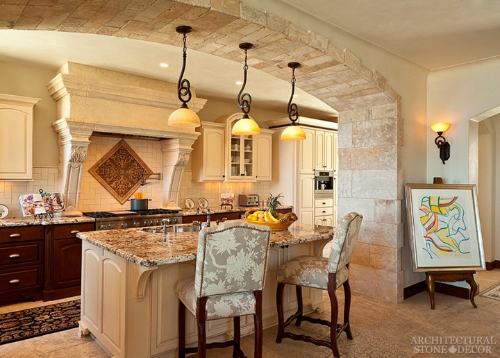 French country kitchen reclaimed limestone sink countertop flooring kitchen hood Canada Saskatchewan