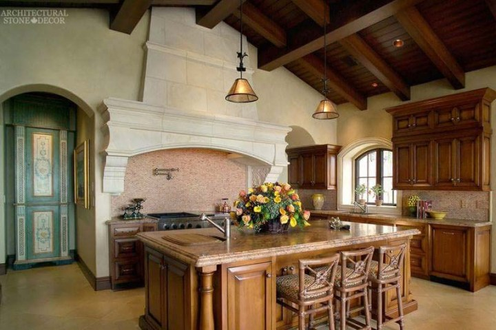 French Country rustic limestone kitchen hood Canada Ontario