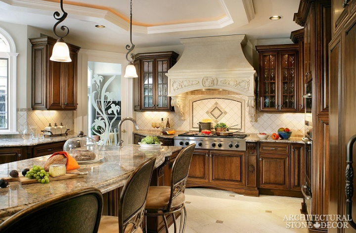 French Provincial reclaimed hand carved limestone kitchen hood Canada Vancouver Alberta