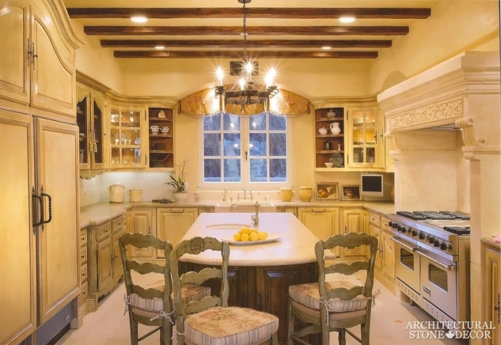 French style salvaged hand carved natural stone kitchen hood Canada Manitoba