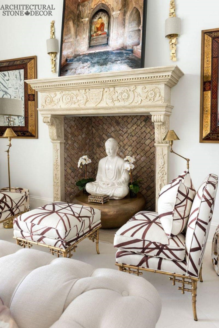newly carved limestone natural stone hand carved fireplace mantel canada Zen living room decor