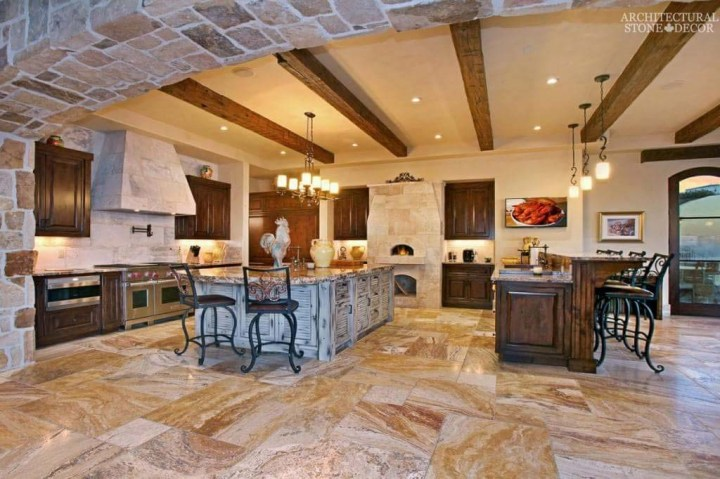 Mediterranean Tuscan kitchen hood pizza oven reclaimed hand carved limestone marble countertops Canada Toronto