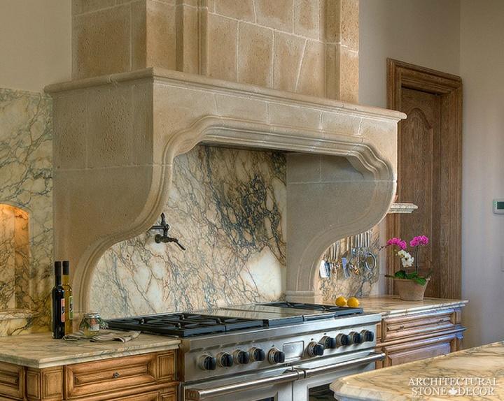 Modern Italian kitchen hood reclaimed limestone marble onyx backsplash Canada Ottawa