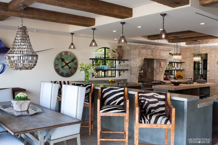 coastal style kitchen rustic salvaged reclaimed limestone natural stone kitchen hood butcher block counter tops Canada BC Vancouver