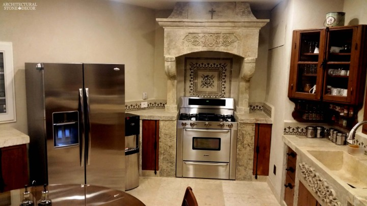 Old world modern style Hand carved reclaimed limestone kitchen hood sink Barre Blonde flooring reclaimed colored cement pavers backsplash butcher blocks counter tops Canada Toronto