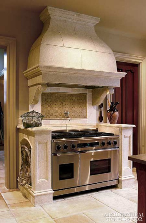reclaimed Dalle de Bourgogne flooring in random configuration rustic stone kitchen hood Canada Vancouver