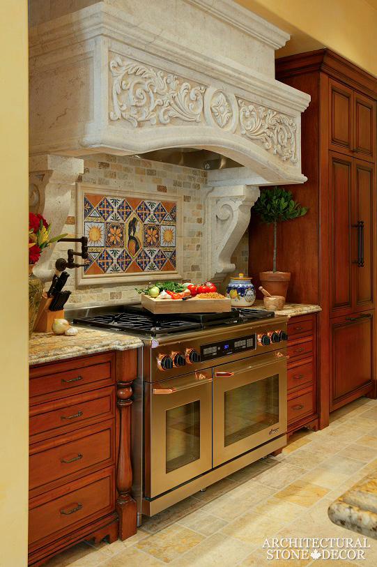 Tuscan style kitchen hood hand carved salvaged reclaimed old world rustic limestone Canada Vancouver BC