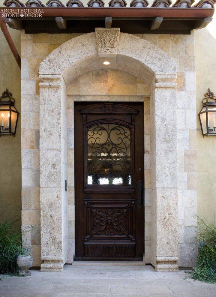 English Tudorian Gothic style handcarved natural limestone entryway Keyhole Canada