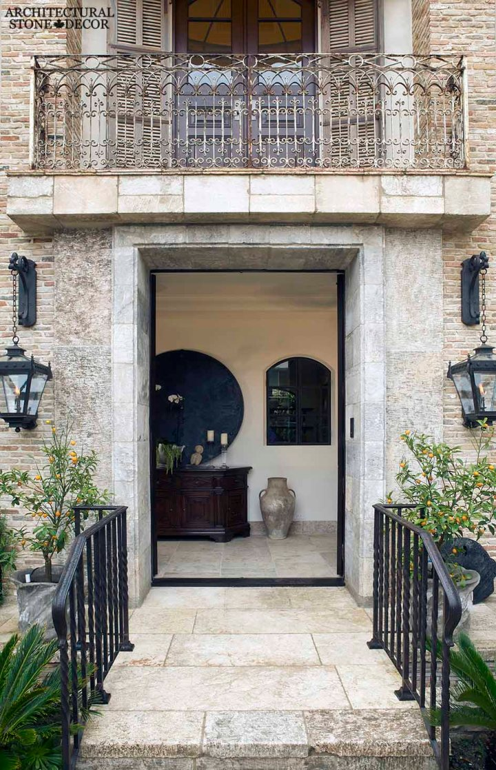 French country style minimalist hand carved antique natural stone entrance French limestone flooring Dalle de Bourgogne Canada Toronto Vancouver