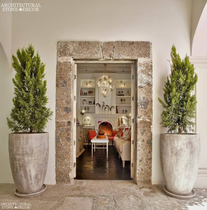 French country style minimalist hand carved antique natural stone entrance terracotta planters French limestone flooring Dalle de Bourgogne Canada Toronto Vancouver